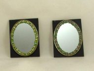 Painted oval mirror