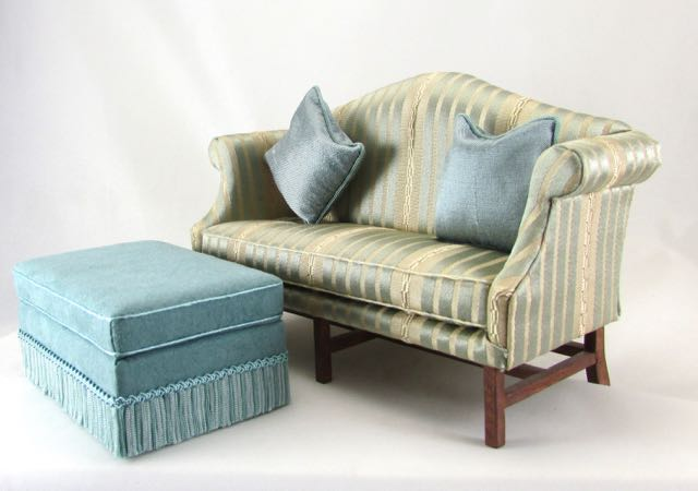 Gold And Blue Striped Sofa And Ottoman
